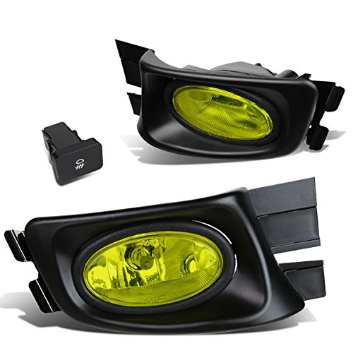 For Honda Accord 7th Gen 4dr Pair of Bumper Driving Fog Lights + Switch + Wiring Kit (Amber Lens)