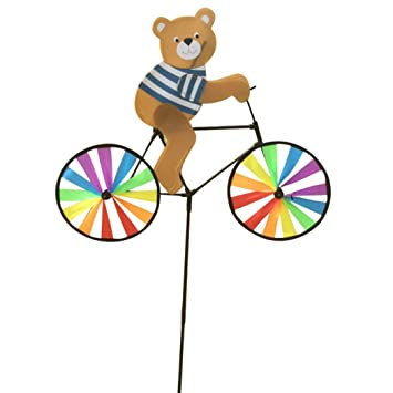 Fansport Garden Pinwheel Wind Spinner Colorful Cartoon Animal Ride Bike Wind Mill Garden Decoration
