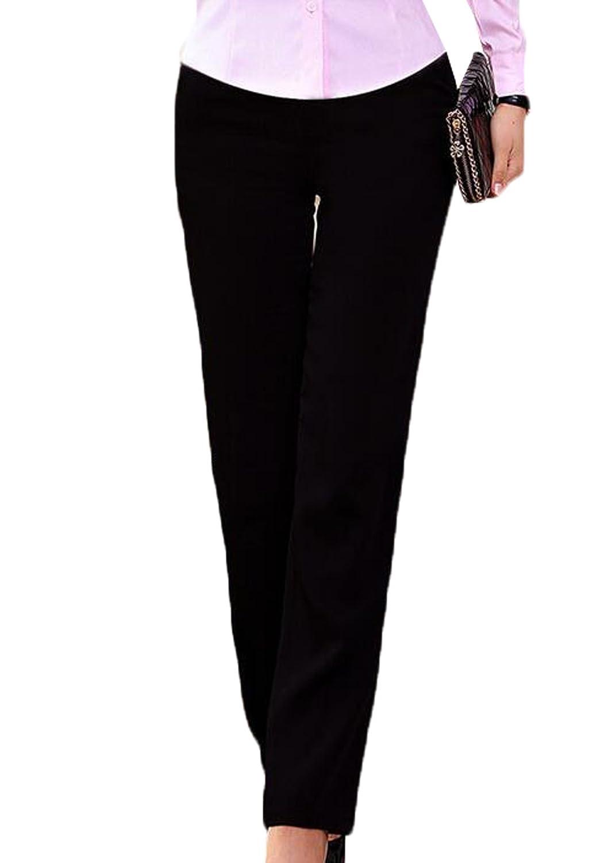 Genhao Women's BASIC Uniform Low Rise Straight Slim Pant