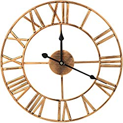 WISKALON Large Metal Wall Clock,24 Inch Silent European Industrial Wall Clock,Round Oversized Roman Numerals Vintage Wall Clock,Golden Home Decor Metal Wall Clock for Kitchen,Cafe,Bar,Indoor