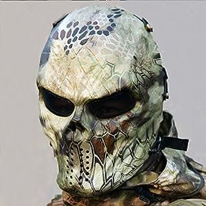 Máscara de disfraz de cara completa al aire libre Máscara de calavera unisex para la caza Cs Juego Fiesta de Hallowmas,campo