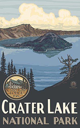 "Crater Lake National Park Travel Art Poster by Artist Paul A. Lanquist ( 9""x12"" ) Art Print for Bedroom, Living Room, Kitchen, Family and Dorm Room Wall Décor"