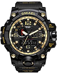 Mens Sports Analog Digital Quartz Military Watch Waterproof Multifunctional Large Dial Wrist Watch for Men (