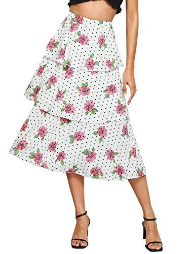 WDIRARA Women's High Waist Floral and Polka Dots Layered Ruffle A-Line Skirt Multicolor XS