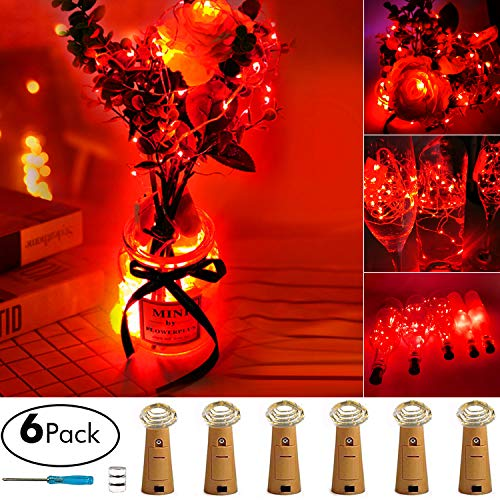 Best Red Wine For Halloween (Aokely Wine Bottle Lights with Cork 20 LED Copper Wire String Lights, Pack of 6 Red Battery Operated Starry String Led Lights for Bottles DIY Christmas Wedding Party)