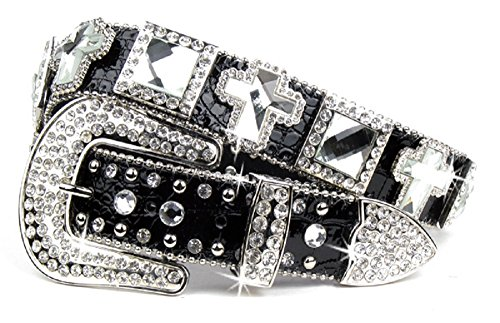 DH Leather Square Concho Cross Bling Rhinestone Buckle Western Belt Jp (S/M) (Cowgirl Concho Belt)