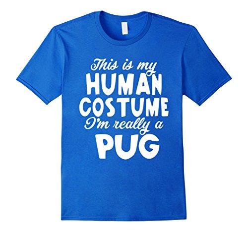 Mens Pug Halloween Costume Shirt Funny for Women Men Boys Girls Small Royal (Costume D'halloween Diy)
