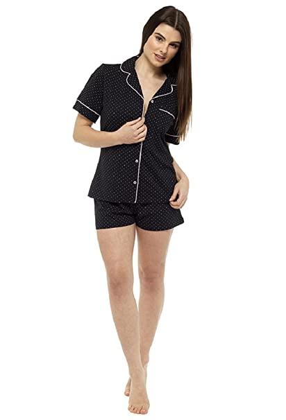 0e2a277881 Foxbury Ladies Cotton Jersey Summer Shorts Pyjama Set (Small = UK 8-10,