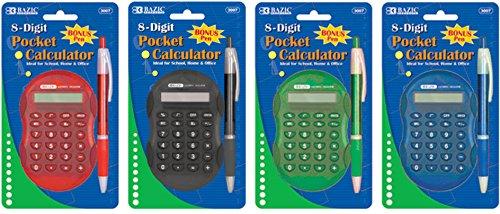 Bazic Multicolor 8-Digit Grip Calculator 144 pcs sku# 311362MA