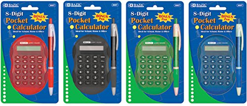 Bazic Multicolor 8-Digit Grip Calculator 144 pcs sku# 311362MA by Bazic (Image #1)