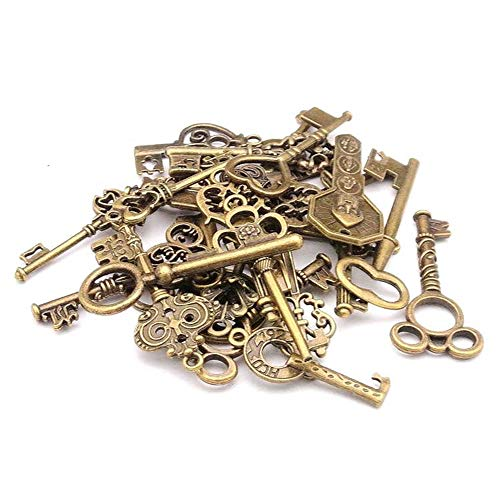 - Tcplyn Mixed Pack of 40 Vintage Keys Antique Bronze Key Charms Set for DIY Jewelry Making Use