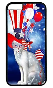 Cat In Patriotic Hat Thanksgiving Halloween Masterpiece Limited Design PC Black Case for iphone 6 by Cases & Mousepads by icecream design