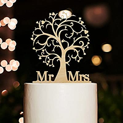 Personalized Mr and Mrs Cake Topper, Wood Cherry Blossom Tree Rustic Wedding Cake Topper.