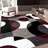 Rugshop Modern Circles Area Rug, 7′ 10″ x 10′ 2″, Burgundy Review