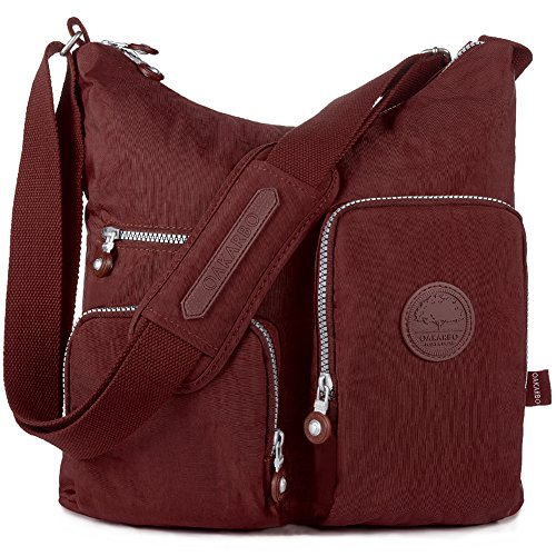 - Oakarbo Crossbody Bag Nylon Multi-Pocket Travel Shoulder Bag (1204 Wine red, Large)