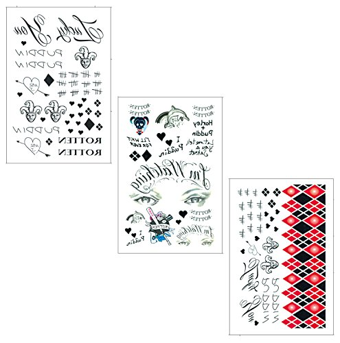 Temporary Tattoo 3 Sheets - DaLin Temporary Tattoos for Costume Accessories and Parties 3 Large Sheets (HQ Collection)