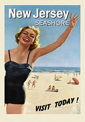 "Blond Girl Visit New Jersey Beaches Seashore Travel Tourism American Vintage Poster Repro 16"" X 22"" Image Size. We Have Other Sizes Available!"