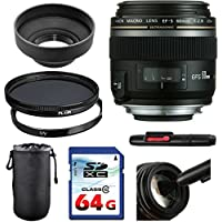 Canon EF-S 60mm f/2.8 Macro USM Lens Bundle + UV Filter + Polarizer Filter + 2 In 1 Lens Cleaning Pen + High Speed 64GB Memory Card + Rubber Hood + Deluxe Lens Case
