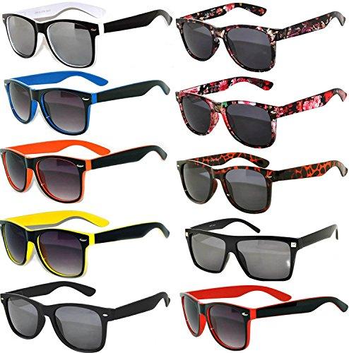 Vintage Sunglasses Smoke Lens 10 Pack in Multiple Colors OWL (Wholesale Plastic Sunglasses)