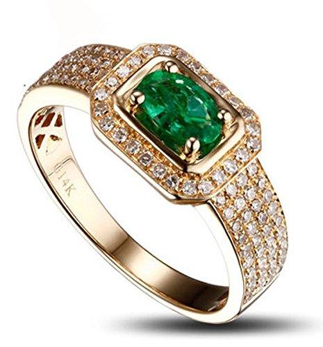 Funda Luxuriouns 2 quilates esmeralda y anillo de compromiso de diamantes en 14 K oro amarillo