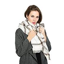 Threelove Women's Tartan Plaid Scarf Blanket Wrap Shawl White Onesize