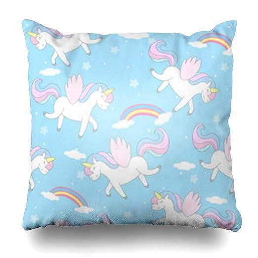 Fundas de almohada de tiro Pony Bebé azul Lindo Unicornio ...