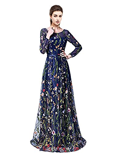 YSMei Women's Spring Embroidered Lace Long Prom Dress Scoop Evening Party Gown Navy Blue 12
