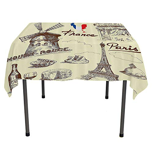 Eiffel Tower Decor Collection tablecloth clear protector Patisserie Restaurant Drink Traditional Food Cheese Tasty Menu Sketchy Doodles Image pattern tablecloth Spring/Summer/Party/Picnic 52 By 70 -
