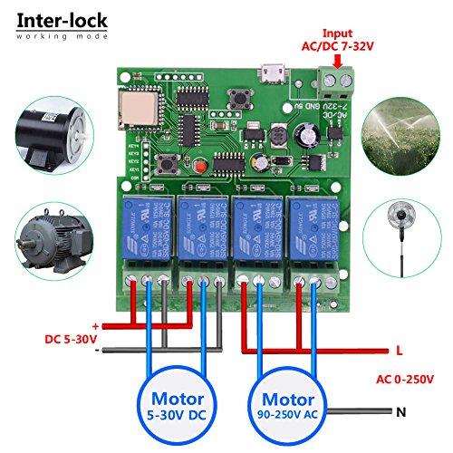 EACHEN WiFi Wireless Inching Relay Monentary/Self-locking Switch Module DIY  Smart Home Remote Control DC 5-32V AC90-260V Ewelink App iOS/Andriod