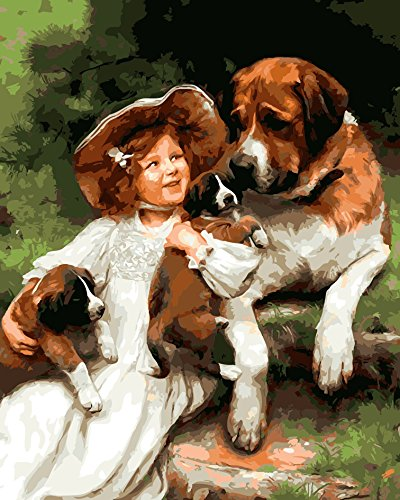 TianMai Paint by Number Kits - Girl and Dog 16x20 inch Linen Canvas Paintworks - Digital Oil Painting Canvas Kits for Adults Children Kids Decorations Gifts (No Frame)