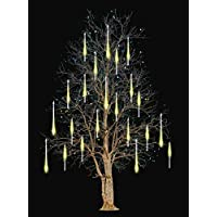 FYYZY Meteor Shower Rain Lights Christmas LED Decoration Falling Drop String Light Icicle 10 Tube (Warm White, 40cm)