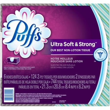 Puffs Ultra Soft & Strong Non-Lotion White Facial Tissues, 124 sheets, 6 count
