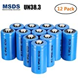 Bingogous CR123A Lithium Battery 3V 1300mAh with PTC Protection Leak Resistant Non-Rechargeable CR123A Batteries for Flashlight Clock Light Meter Toys Torch (12-Pack)