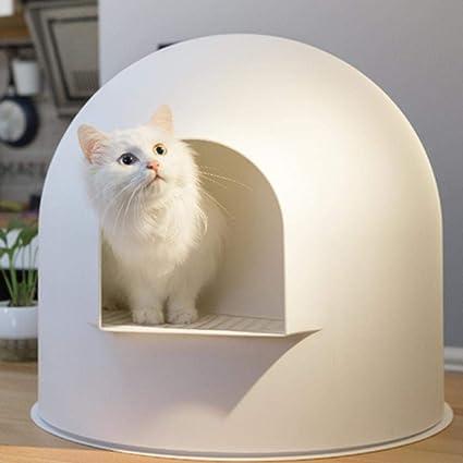 Caja de arena Caja de arena Gatos que se extienden Cuencos, Aseo para gatos con entrada de gran tamaño, Estructura esférica grande, Sala de arco grande, ...