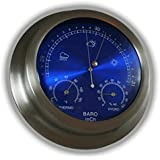"Ambient Weather WS-228TBH 9"" Brushed Aluminum Contemporary Barometer with Temperature and Humidity, Metallic Radiant Blue"