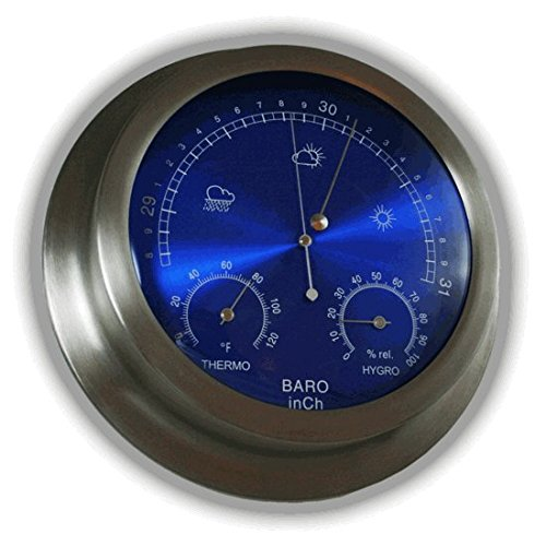 Ambient Weather WS-228TBH 9'' Brushed Aluminum Contemporary Barometer with Temperature and Humidity, Metallic Radiant Blue by Ambient Weather