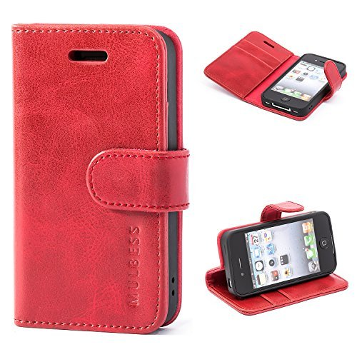 ulbess Leather Case, Flip Folio Book Case, Money Pouch Wallet Cover with Kick Stand for Apple iPhone 4 / 4s,Wine Red ()