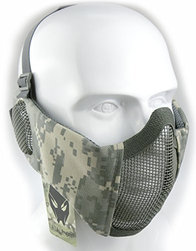 Mask Usa Flexible Paintball (ATAIRSOFT Tactical Airsoft CS Protective Lower Guard Mesh Nylon Half Face Mask with Ear Cover ACU)
