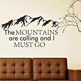 Wall Decal Decor Mountain Wall Decal Quote – The Mountains Are Calling And I Must Go – John Muir Quotes Forest Rustic Wall Decor Bedroom Wall Art Sticker(White, 31.5″h x58″w) For Sale