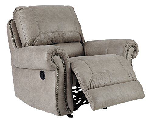 Ashley Furniture Signature Design - Olsberg Traditional Rocker Recliner with Nailhead Trim - Pull Tab Reclining - Steel