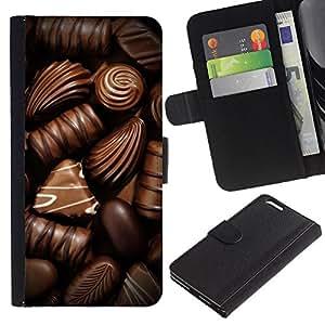 KingStore / Leather Etui en cuir / Apple Iphone 6 PLUS 5.5 / Chocolate Box caramelo arte oscuro dulce