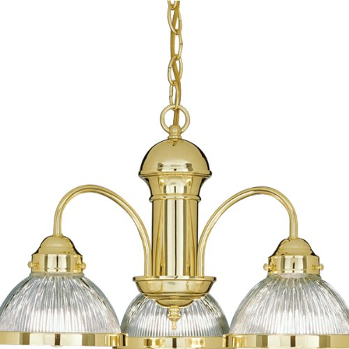 (Progress Lighting P4094-10 Three-Light Chandelier with Clear Prismatic Glass Shades, Polished Brass )