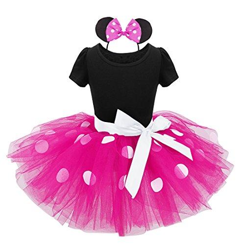 Freebily Inflant Baby Girls' Mouse Fancy Dress Dance Tutu Costume with Headband Black&Hot Pink 3