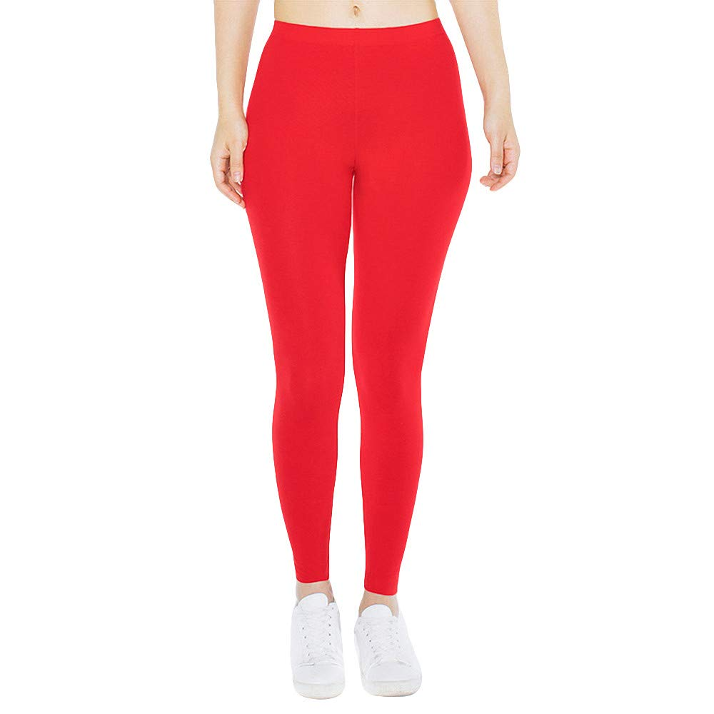 Pervobs Women Solid Soft Elastic Waist Skinny Slim Opaque Yoga Waisted Pants(XS, Red)