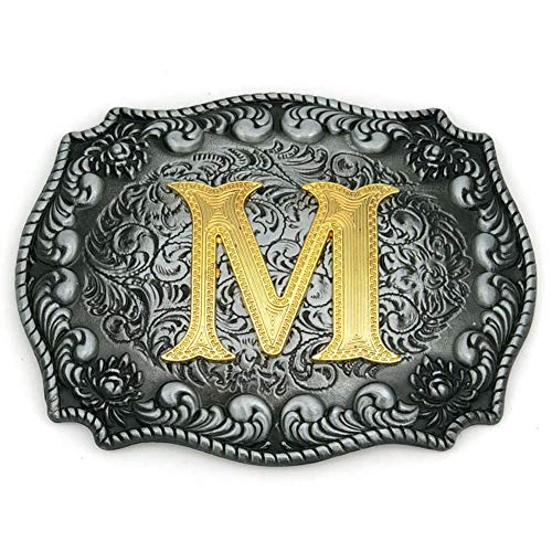 (Western Belt Buckle Initial Letters ABCDEFG to Y-Cowboy Rodeo Silver Large Belt Buckle for Men and Women (M) Upgrade)