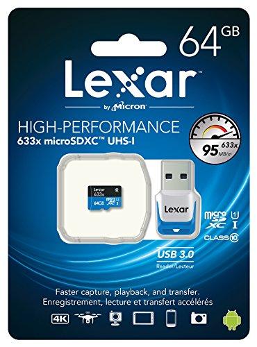 Lexar High-Performance microSDXC 633x 64GB UHS-I/U1 w/USB 3.0 Reader Flash Memory Card - LSDMI64GBB1NL633R