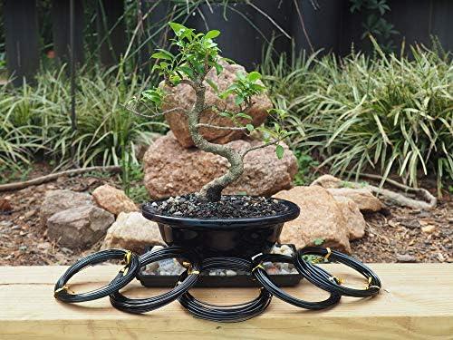 Anodized Aluminum Bonsai Training Wire 5-Size Starter Set Black 1.0mm 1.5mm 2...