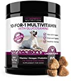 10 in 1 Dog Multivitamin with Glucosamine - Essential Dog Vitamins with Glucosamine Chondroitin, Probiotics and Omega Fish Oil for Dogs Overall Health - Glucosamine for Dogs Joint Supplement Heart