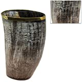 Classic Hand Carved Medieval Buffalo Horn Cup Display Replica w Brass Rim