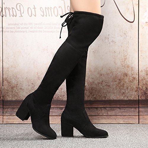 col autunno gamba sottile inverno black GTVERNH degli ha spessi stivali stivali alto stivali ginocchio tacco tratto stivali nuova g6FgUPq1